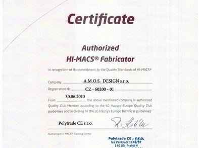 Certifikát HI-MACS